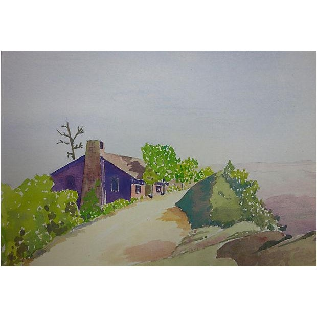 """Watercolor Painting - """"Small House Just Beyond"""" - Image 3 of 5"""