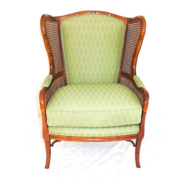 English Traditional Green Upholstered Faux Bamboo Wingback Chair For Sale - Image 9 of 9