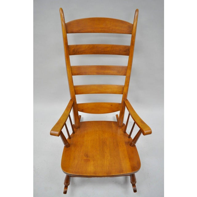 Maple Mid-Century Tell City Maple Sculptural Ladder Back Rocking Chair For Sale - Image 7 of 11