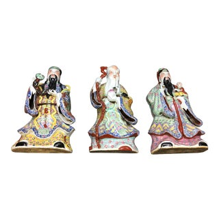 Chinese Porcelain Deities, Fu, Lu, Shou Wall Hanging Figures - Set of 3 For Sale