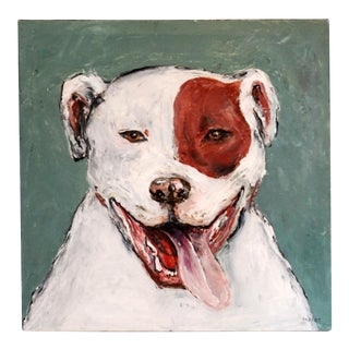 Original Oil Painting of Happy Staffordshire Terrier