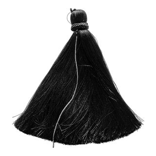 Black Tassel With Silver Beading For Sale