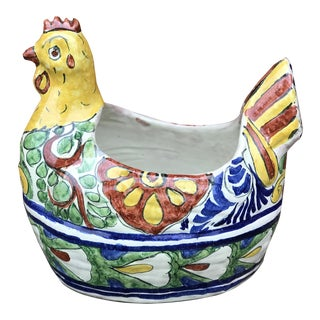 Vintage Mexican Talavera Pottery Hen Planter For Sale