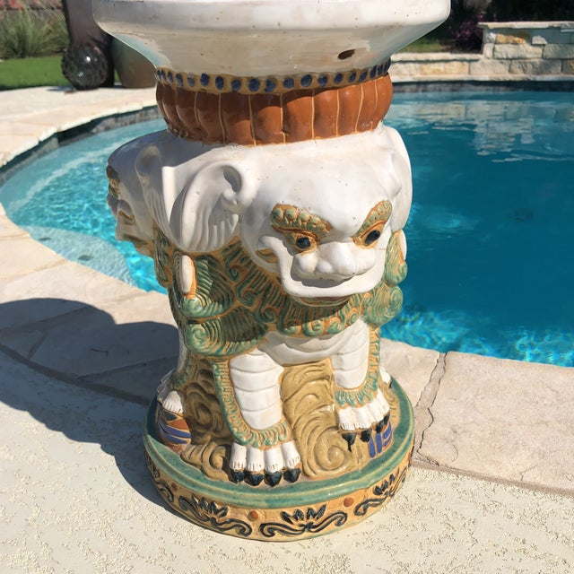 White 1960s Gothic Ceramic 3 Sided Foo Dog Garden Stool For Sale - Image 8 of 13