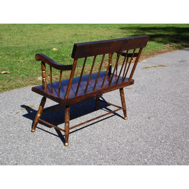 Vintage Spindle Back Harvest Stenciled Solid Pine Farmhouse Bench Settee For Sale - Image 9 of 13