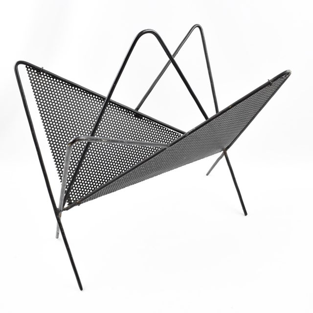 1950s Mathieu Mategot Iconic Butterfly Magazine Holder Rack Black Perforated Metal For Sale - Image 5 of 11