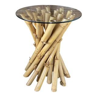 Vintage Natural Cluster Bamboo Table Base For Sale