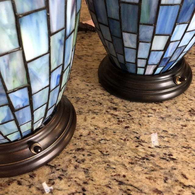 2000 - 2009 Arts and Crafts Geometric Blue Stained Glass Lamps - a Pair For Sale - Image 5 of 13