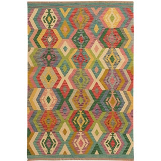 Melda Green/Ivory Hand-Woven Kilim Wool Rug -5'0 X 6'5 For Sale