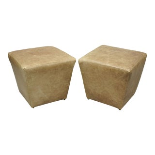 Ethan Allen Distressed Brown Leather Pouf Ottomans-a Pair For Sale