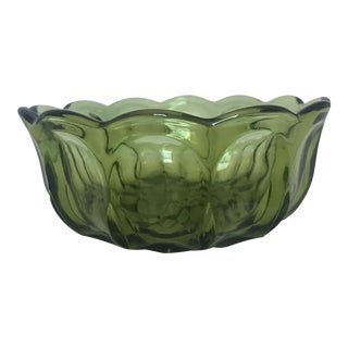 "Vintage Mid-Century Modern Thumbprint Green Glass Bowl 6"" For Sale"