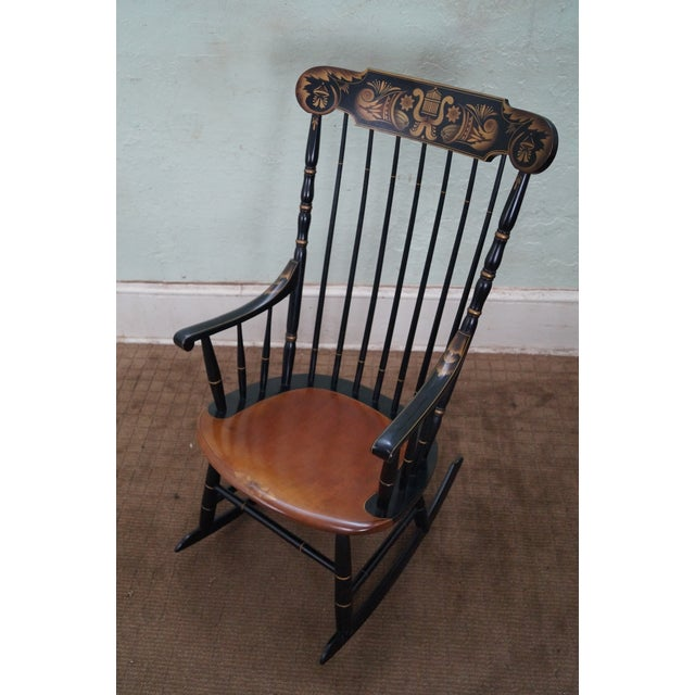 Hitchcock Black Painted Stenciled Rocking Chair - Image 6 of 10