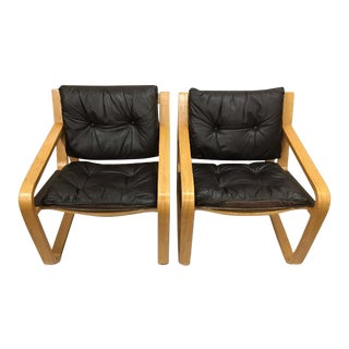 1970s Mid-Century Modern Plycraft Leather and Oak Side Chairs - a Pair