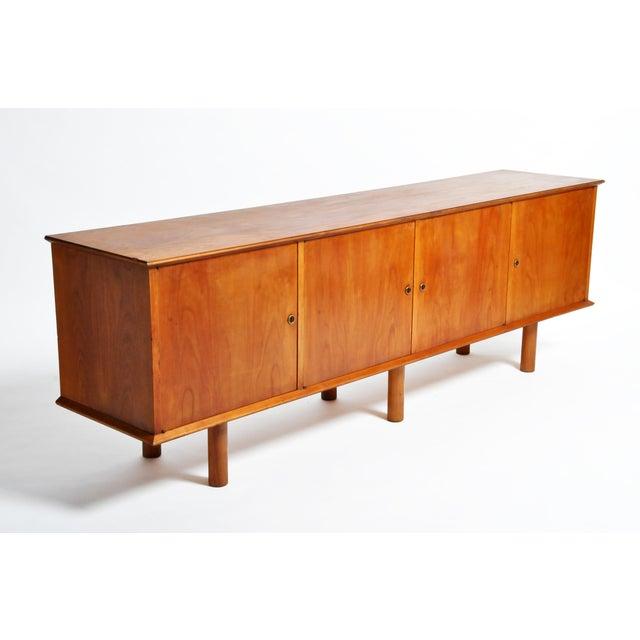 Brown French Mid-Century Modern Walnut Veneer Sideboard For Sale - Image 8 of 13