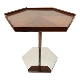 Bolier for Decca Home Modern Hexagonal Walnut Veneer Top Side Table For Sale