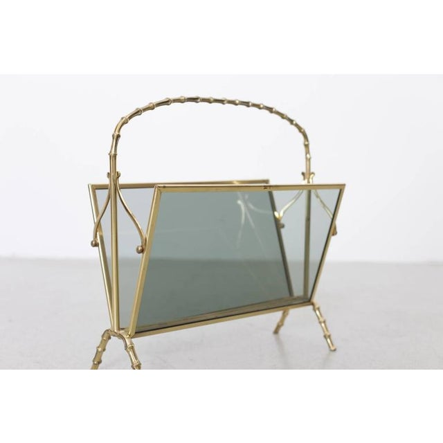 Mid-Century Modern Maison Bagues Brass and Glass Faux Bamboo Magazine Rack For Sale - Image 3 of 8