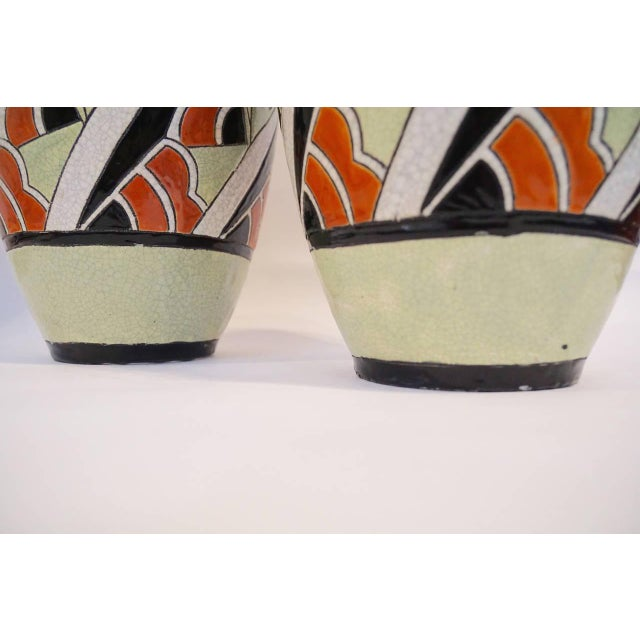Rare Matching Pair of Charles Catteau Geometric Vases - Image 2 of 6