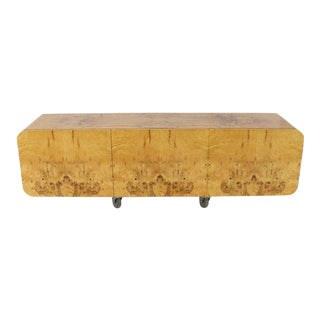Wall Mount Hanging Burl Wood Bar Shape Credenza Cabinet Double Door Compartment For Sale