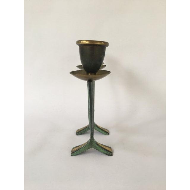 Modern Vintage Israeli Brass Candelabra For Sale - Image 3 of 8