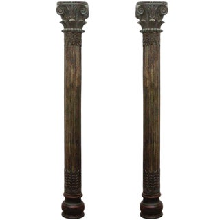 Early 20th Century Vintage Carved Wooden Anglo Indian Pillar Columns- A Pair For Sale