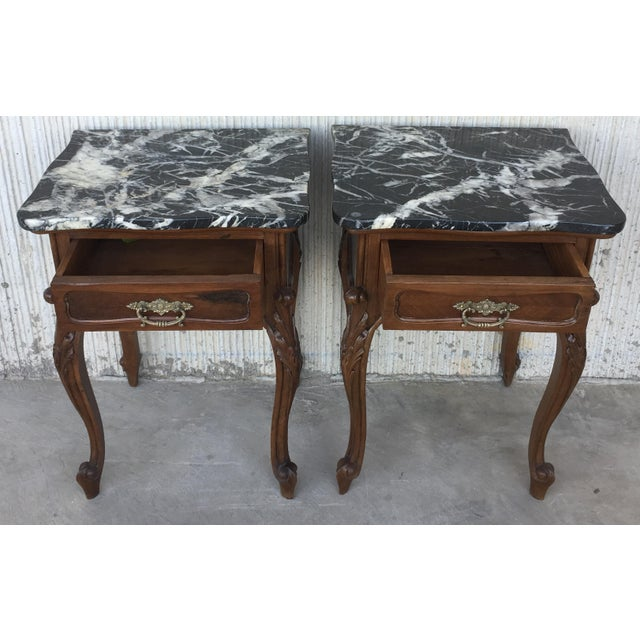 Late 19th Century 19th Century Pair of French Louis XV Carved Nightstands For Sale - Image 5 of 12