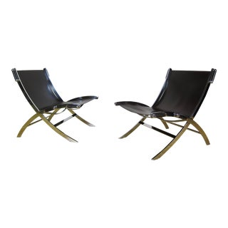 "Modern Antonio Citterio for Flexform Italy ""Timeless"" Leather & Chrome Sling Chairs - A Pair For Sale"