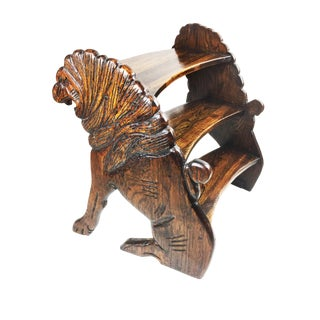 Antique Hand Carved Walnut Wood Lion Library Steps