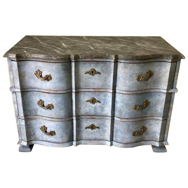 Wood Late 18th Century Swedish Baroque Chest With Faux Marble-Top and Serpentine Drawers For Sale - Image 7 of 7