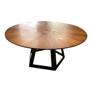 Walnut and Steel Round Dining Table
