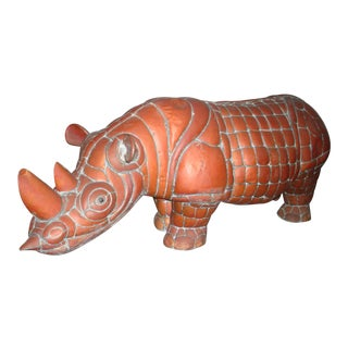 Sergio Bustamante Signed Brass and Copper Rhino Sculpture For Sale