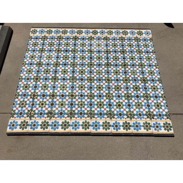 1990s Moroccan Hand-Crafted encaustic Cement Tile with Traditional Fez Moorish Design - Set of 56 For Sale - Image 11 of 13