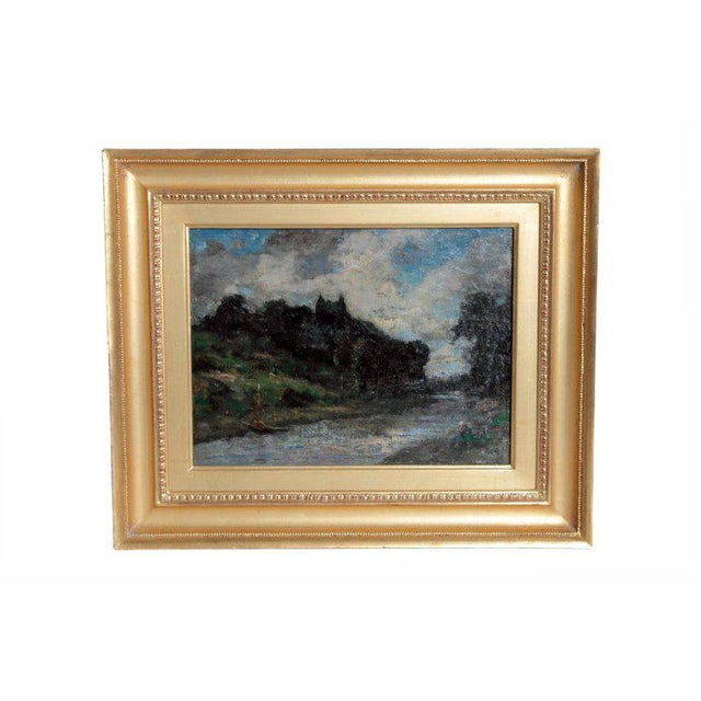 19th Century English Oil Canvas Atmospheric Landscape For Sale - Image 13 of 13