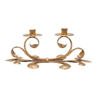 Mid-Century Italian Gilt Tole Candelabra Candle Holder For Sale