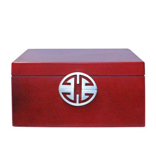 Oriental Round Hardware Red Rectangular Container Box Large For Sale