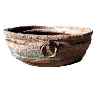 Vintage Saucer Shaped Patinated Terra Cotta Planter For Sale