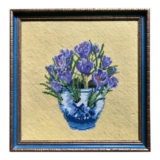 "Vintage ""Bouquet of Crocus Flowers"" Needlepoint Art"