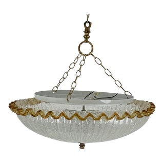 Italian Glass Light Flush or Semi Flush Mount For Sale