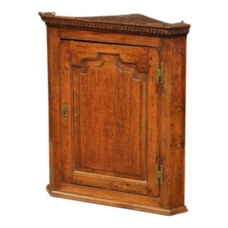 18th Century English Carved Oak Wall Hanging Corner Cabinet For Sale