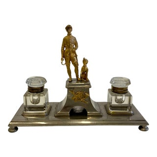 Gilt Bronze Brass and Cut Glass Horseman & Hound Dog Desk Inkwell Set For Sale