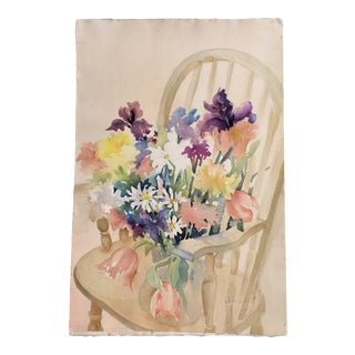 Original Vintage Watercolor Painting Still Life With Flowers on Chair For Sale