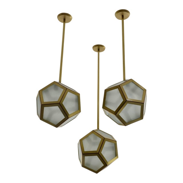 Large Cluster Chandelier of Three Pentagone Lanterns by Design Frères For Sale