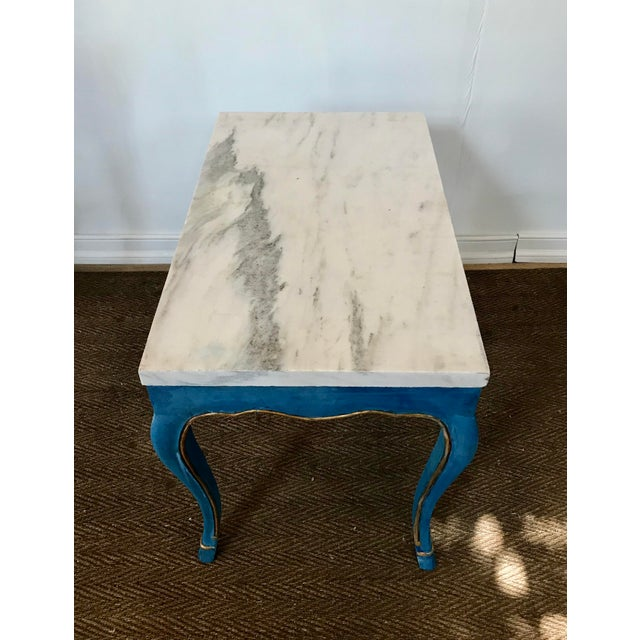 Marble Italian Marble Top Cocktail Table in the Louis XV Style Having Hoof Feet For Sale - Image 7 of 13