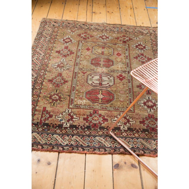 """Old New House Antique Caucasian Square Rug - 3'10"""" X 4'8"""" For Sale - Image 4 of 12"""