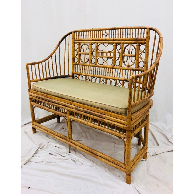Vintage Scorched Bamboo & Cane Settee For Sale - Image 13 of 13