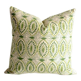 Olive Block Print Pillow Cover 20x20 For Sale