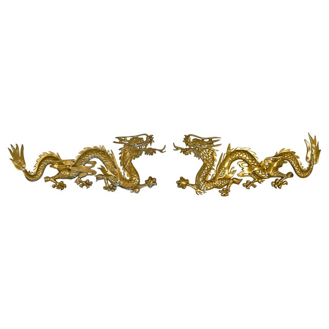 Large Brass Wall Hanging Dragons - A Pair - Image 1 of 7