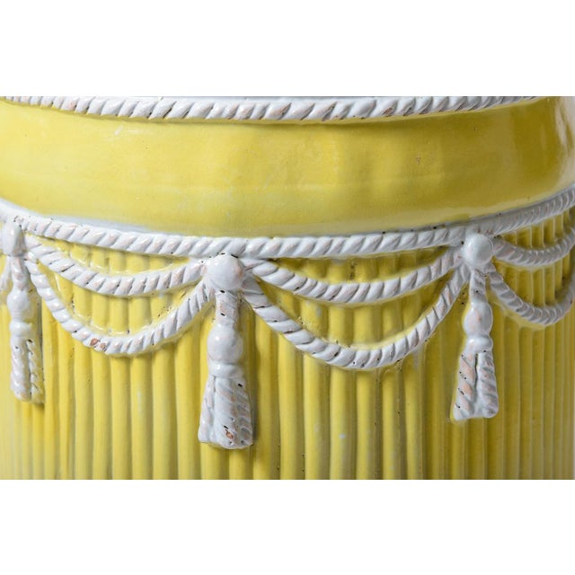 Italian Vintage Yellow & White Ceramic Garden Stool Hollywood Regency Palm Beach For Sale - Image 4 of 5
