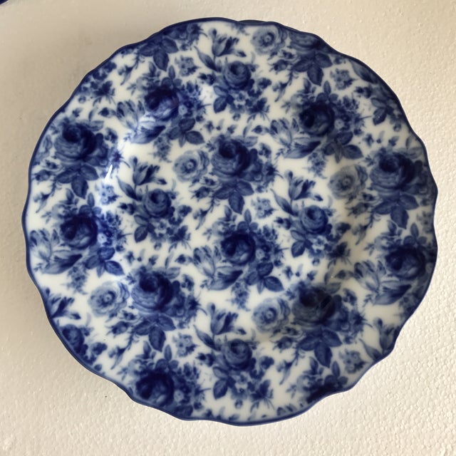 Harry & David Blue and White Rose Dishes - Set of Six For Sale In Los Angeles - Image 6 of 10