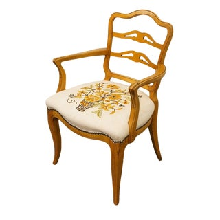 1940's Antique Maple Ladderback W. Needlepoint Seat Dining Arm Chair