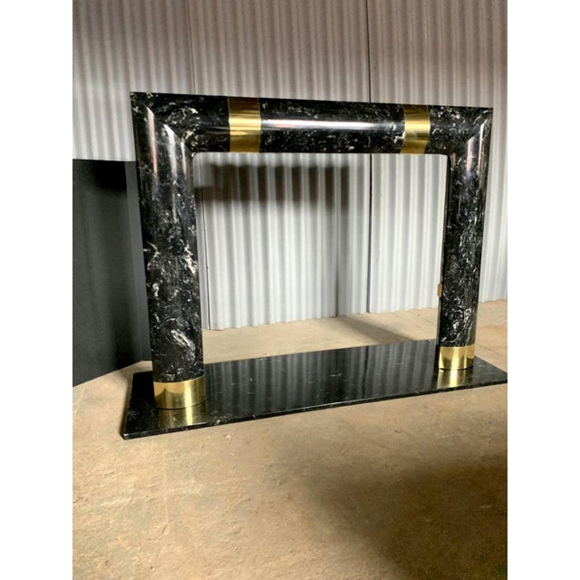 Black 1980s Brass Marble and Composite Fireplace For Sale - Image 8 of 11